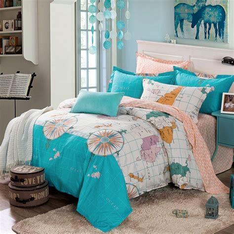 31685 world map bedding turquoise white and orange nautical themed world map print
