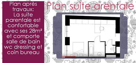 surface minimum bureau suite parentale avec salle de bain et dressing