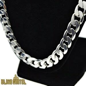 cuban link necklace silver plated big thick mm heavy