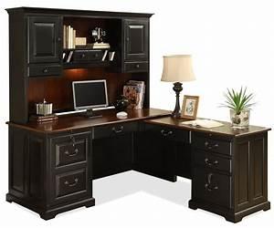 Shape Computer Workstation Desk Hutch Riverside Furniture Wolf Gardiner Wolf Awesome Black L Shaped Desk