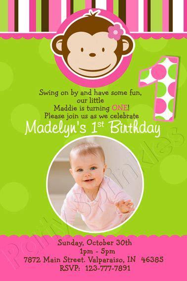 mod monkey girl girl mod monkey invitation st birthday