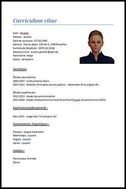 Cv Etudiant Modele by Cv Etudiant Belge