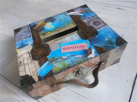valise urne de mariage vintage theme voyages vendue