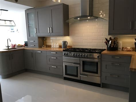 Kitchen Ideas B And Q by Carisbrook Taupe B Q Kitchen With Oak Worktops Taupe