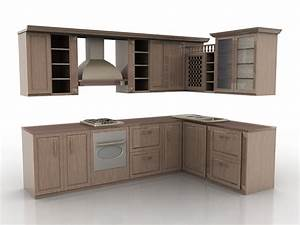 Vintage rustic kitchen design 3d model 3ds max files free for Kitchen furniture 3ds max free