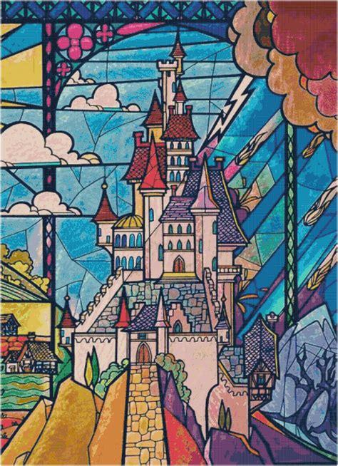 disney beauty   beast stained glass castle cross