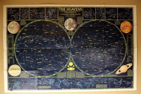 vintage star map large wall poster  outer space