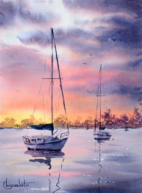 Watercolor Boat by Boats And Sea Chrysovalantou Mavroudis Watercolour Artist