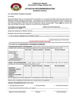 recommendation letter edit fill print