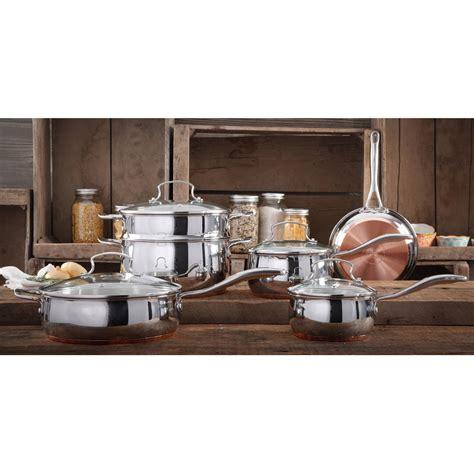 pioneer woman copper charm stainless steel copper bottom  piece cookware set walmartcom