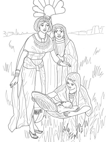 finding  baby moses coloring page supercoloringcom