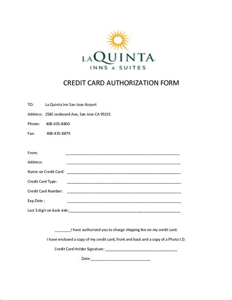 credit card form 10 credit card authorization form template free