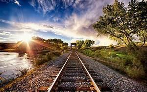 Nature, Landscape, Sunset, Tracks, Train, Sun, Rays, Trees