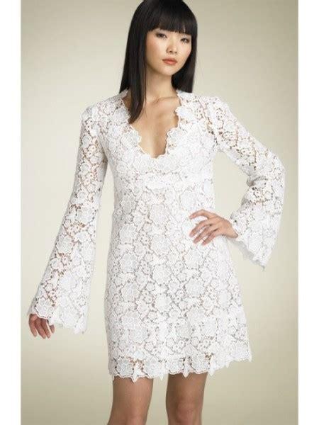 short lace wedding dress  long sleeves  candia fashion