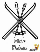 Coloring Skis Winter Drawing Hockey Colouring Cold Bone Pole Yescoloring Getdrawings sketch template