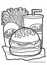 Coloring Burger Pages Ausmalbilder Fries Eating Essen Zum Malvorlage Malvorlagen Kawaii Hamburger Ausdrucken Printable Popular sketch template