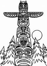 Totem Coloring Pages Poles Pole Drawing Native American Wolf Monumental Outline Northwest Easy Netart Apache Coast Template Clipart Sheet Indians sketch template