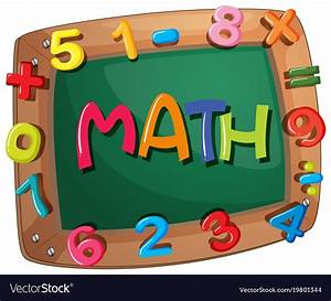 Word math on wooden frame with numbers Royalty Free Vector