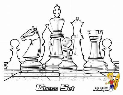 Chess Coloring Pieces Board Pages Cool Drawing