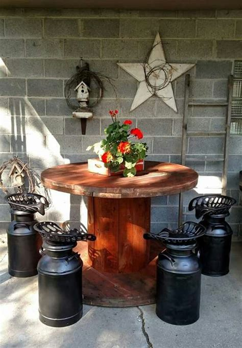 Wooden Spool Furniture by Spool Table Pinteres