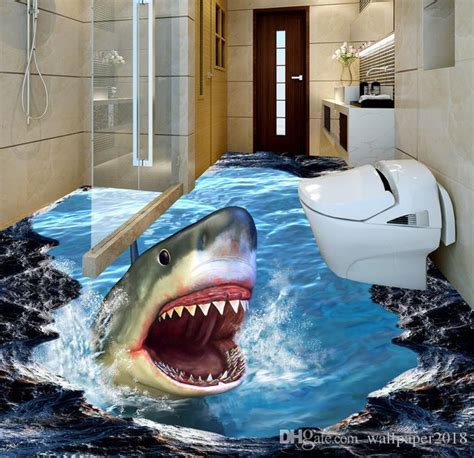 wall mural wallpaper shark   dimensional painting