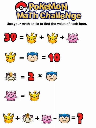 Math Puzzles Challenge Pokemon Printable Mashup Games