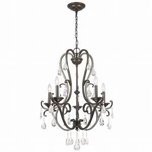 Hampton bay light oil rubbed bronze crystal chandelier ihx a the home depot