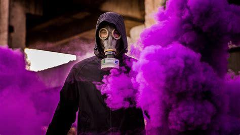 Download Wallpaper 1920x1080 Man Gas Mask Smoke Purple