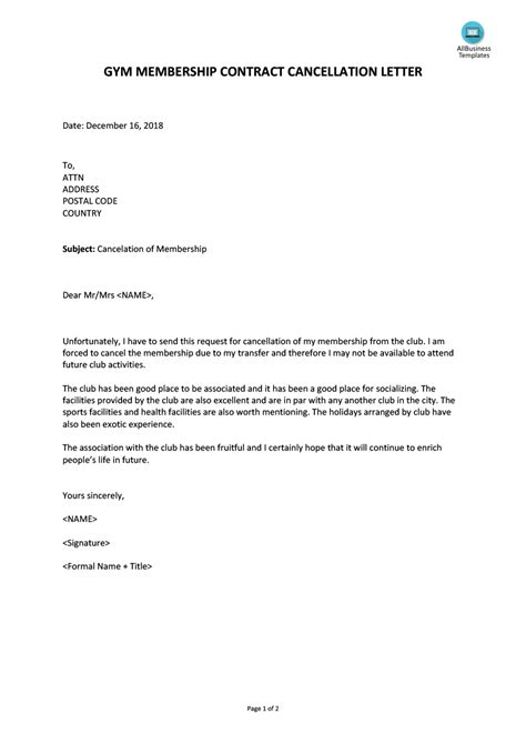professional cancellation letters gym insurance