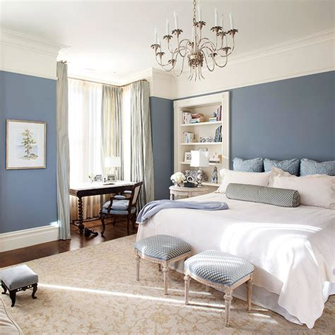 curtains  white walls   bedroom interior blue