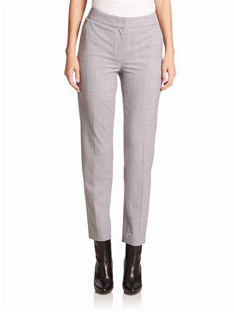 light grey wool st john cropped wool flannel pants in gray light grey