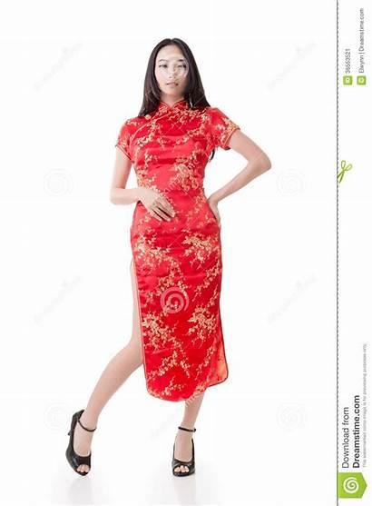 Chinese Traditional Cheongsam Woman Isolated Studio Shot