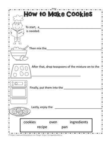 how to make cookies worksheets