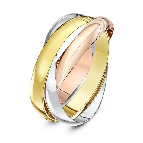9kt three colour gold 3mm russian wedding ring