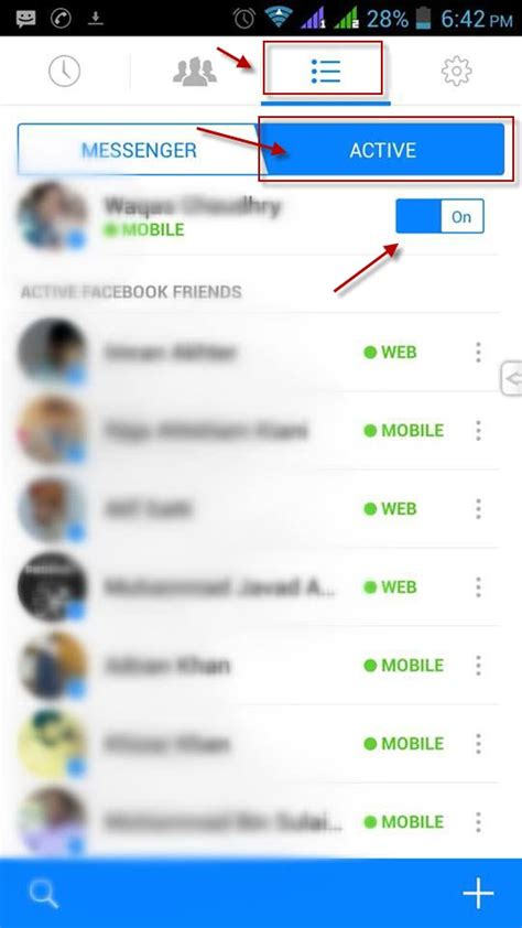 turn  facebook chat  android mobile