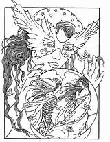 Coloring Pages Crystal Ball Print Adult Colouring Fantasy Books Fairy sketch template