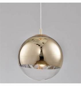 Luminaire Boule Verre : suspension design globe 30 cm boule dor e transparente ~ Teatrodelosmanantiales.com Idées de Décoration