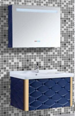 plywood kitchen cabinet blue color modern pvc bathroom vanity cabinet on wall pvc 1560