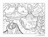 Volcano Coloring Erupting sketch template