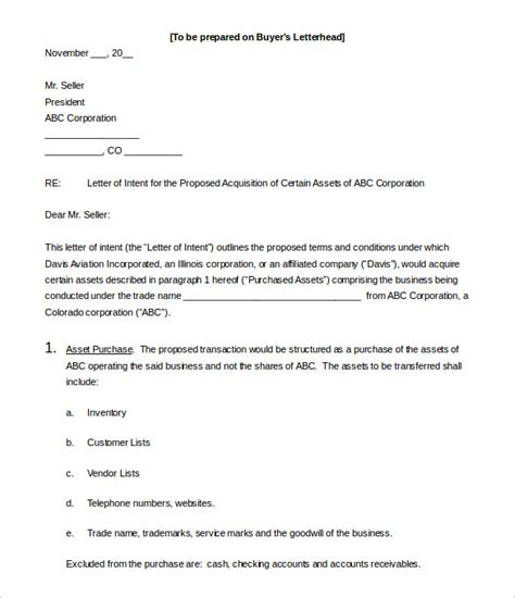 business letter  intent   word  format