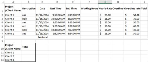 how to create billable hours template in excel