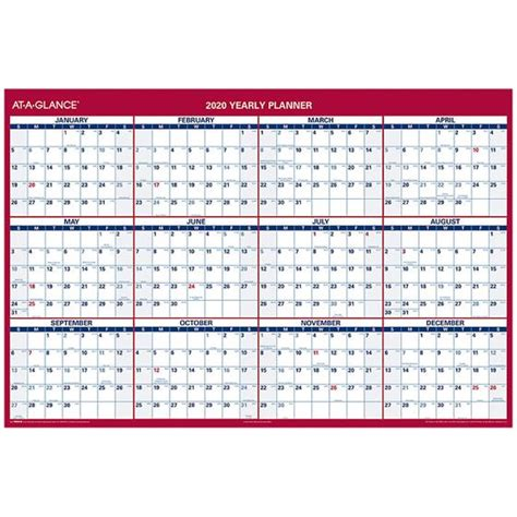 glance pm yearly planner large dry erase wall calendar