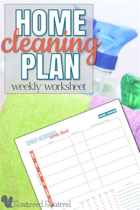 home cleaning plan weekly worksheet printable