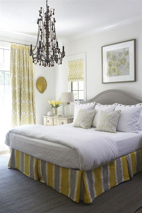 yellow  gray bedrooms cottage bedroom tracery