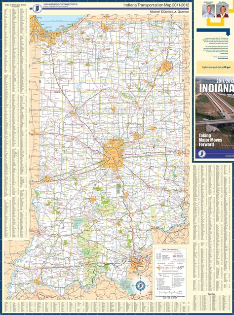 large detailed map  indiana  cities  towns