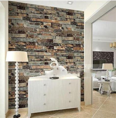 modern stone brick  wallpaper dining roomkitchen