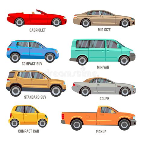 Car Types Flat Icons Stock Vector. Illustration Of Segment