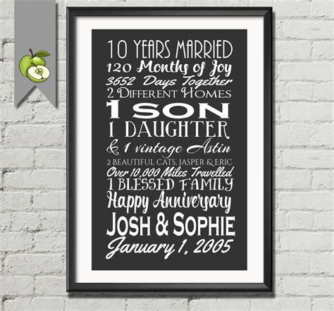 10 year wedding anniversary gift 10th anniversary gift tenth anniversary gift wife husband