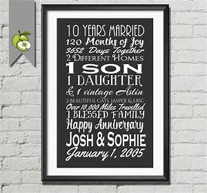 10th anniversary gift tenth anniversary gift wife husband With 10 year wedding anniversary gifts