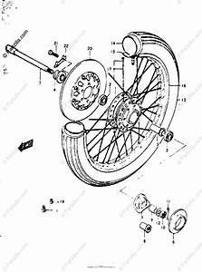Suzuki Motorcycle 1977 Oem Parts Diagram For Front Wheel